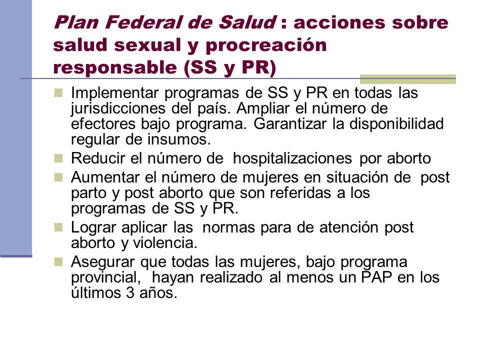 Plan Federal de Salud : acciones sobre salud sexual y procreación responsable (SS y PR)
