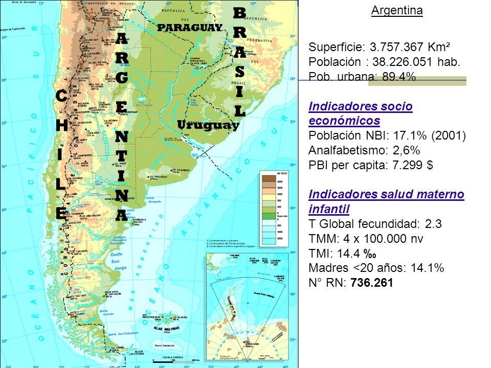 BRASIL ARG E NTINA C H I L E Argentina Superficie: 3.757.367 Km²