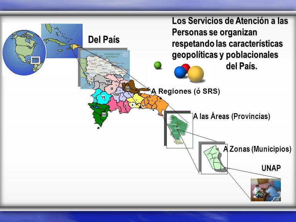 Los Servicios de Atención a las Personas se organizan respetando las características geopolíticas y poblacionales