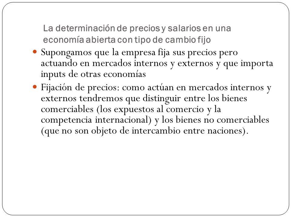 La determinación de precios y salarios en una economía abierta con tipo de cambio fijo