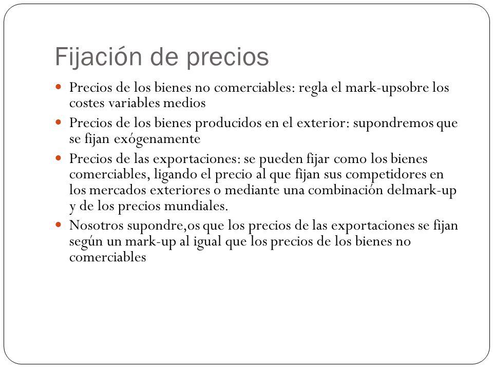 Fijación de precios Precios de los bienes no comerciables: regla el mark-upsobre los costes variables medios.