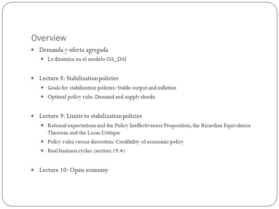 Overview Demanda y oferta agregada Lecture 8: Stabilization policies