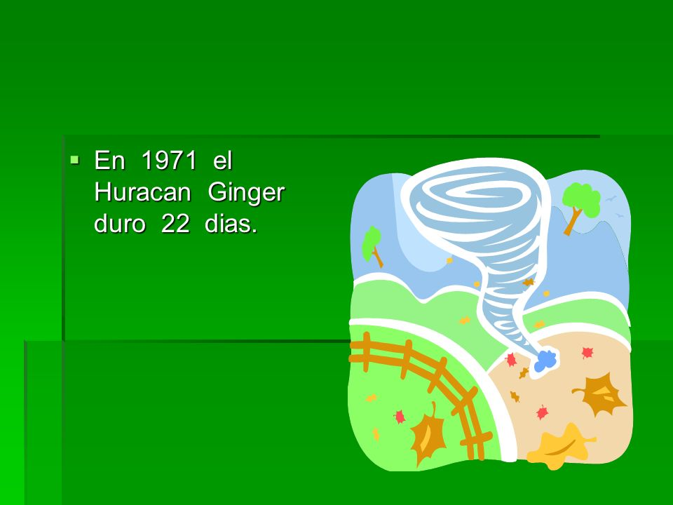 En 1971 el Huracan Ginger duro 22 dias.