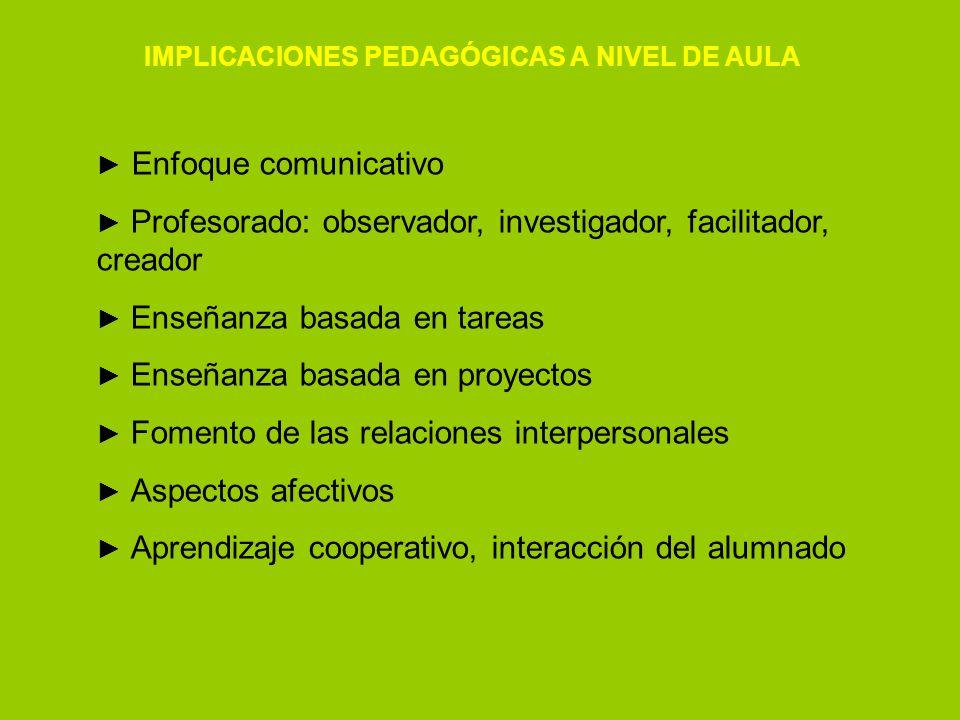 IMPLICACIONES PEDAGÓGICAS A NIVEL DE AULA