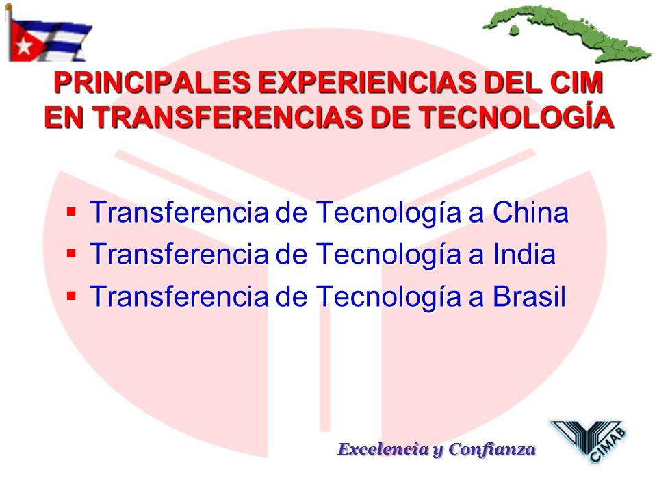 PRINCIPALES EXPERIENCIAS DEL CIM EN TRANSFERENCIAS DE TECNOLOGÍA