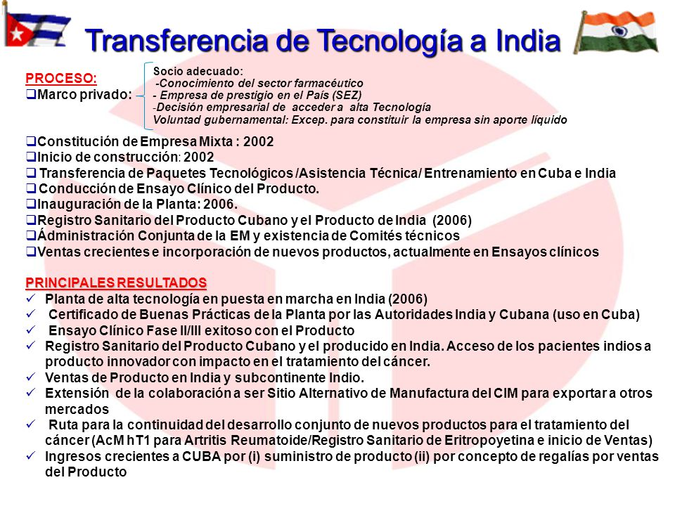 Transferencia de Tecnología a India