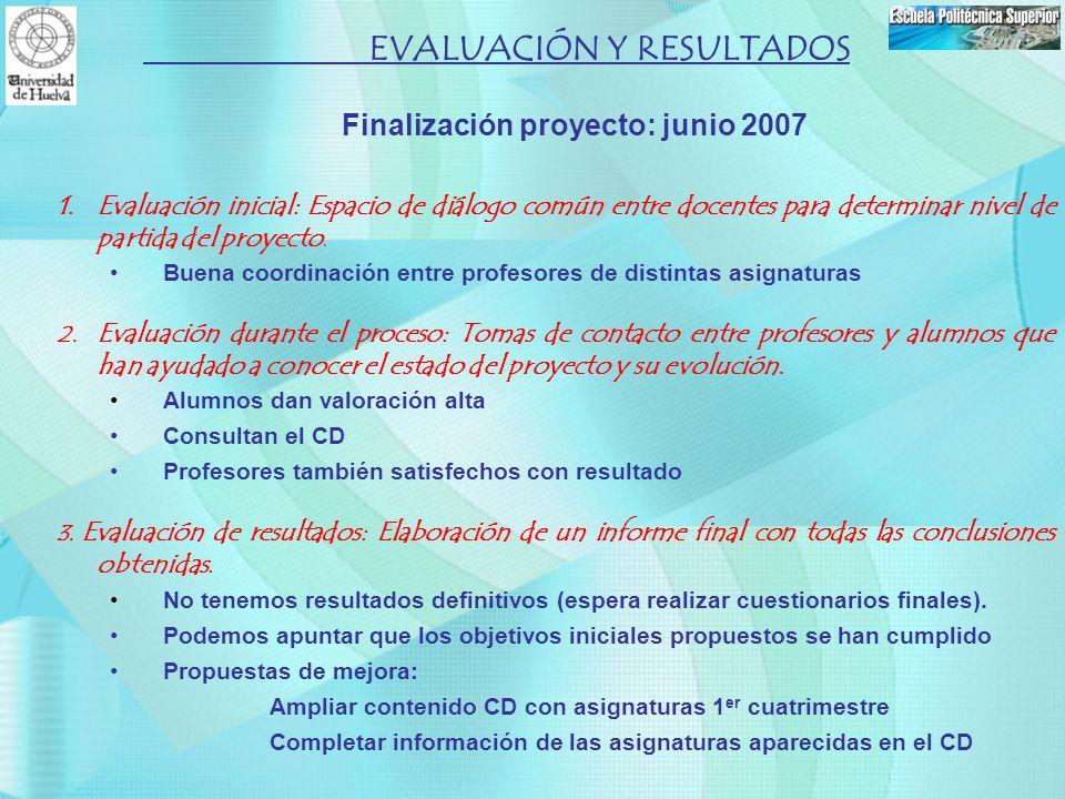 EVALUACIÓN Y RESULTADOS Finalización proyecto: junio 2007