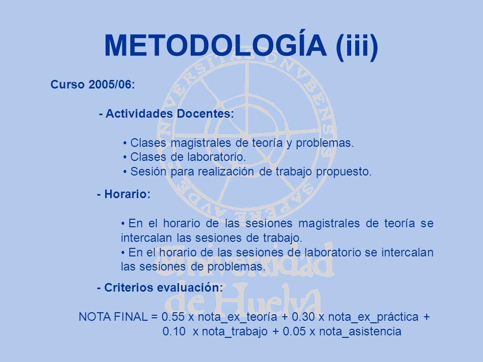 METODOLOGÍA (iii) Curso 2005/06: - Actividades Docentes: