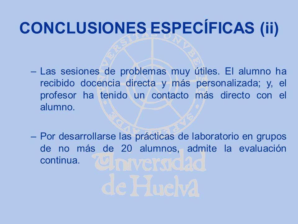 CONCLUSIONES ESPECÍFICAS (ii)