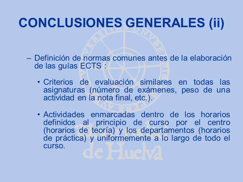 CONCLUSIONES GENERALES (ii)