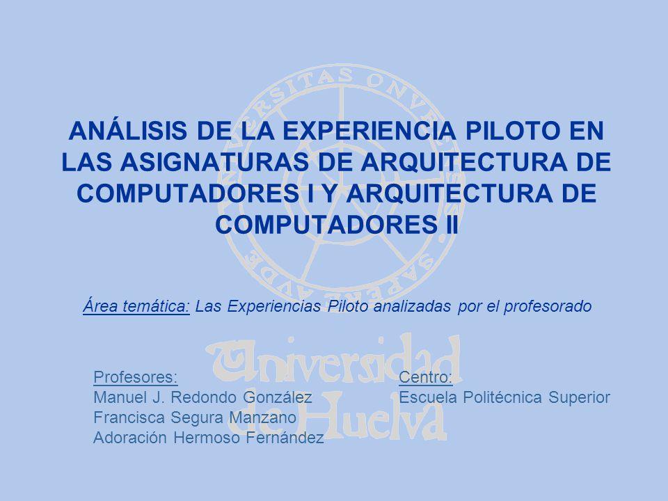 ANÁLISIS DE LA EXPERIENCIA PILOTO EN LAS ASIGNATURAS DE ARQUITECTURA DE COMPUTADORES I Y ARQUITECTURA DE COMPUTADORES II