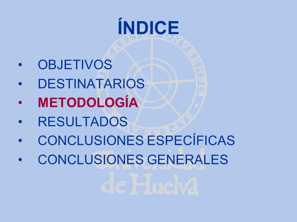 ÍNDICE OBJETIVOS DESTINATARIOS METODOLOGÍA RESULTADOS