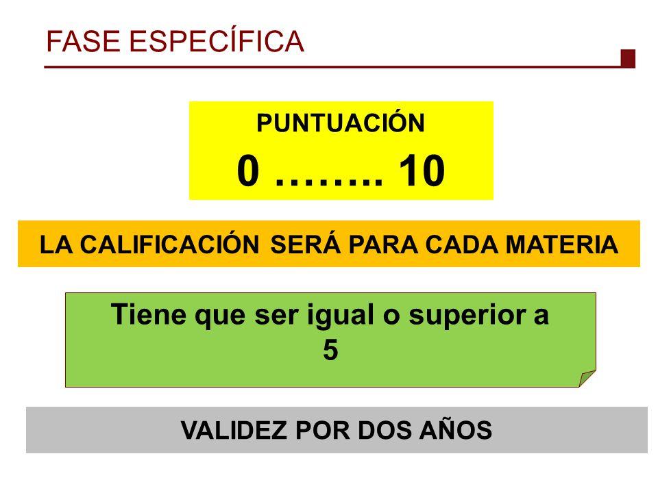 0 …….. 10 FASE ESPECÍFICA Tiene que ser igual o superior a 5