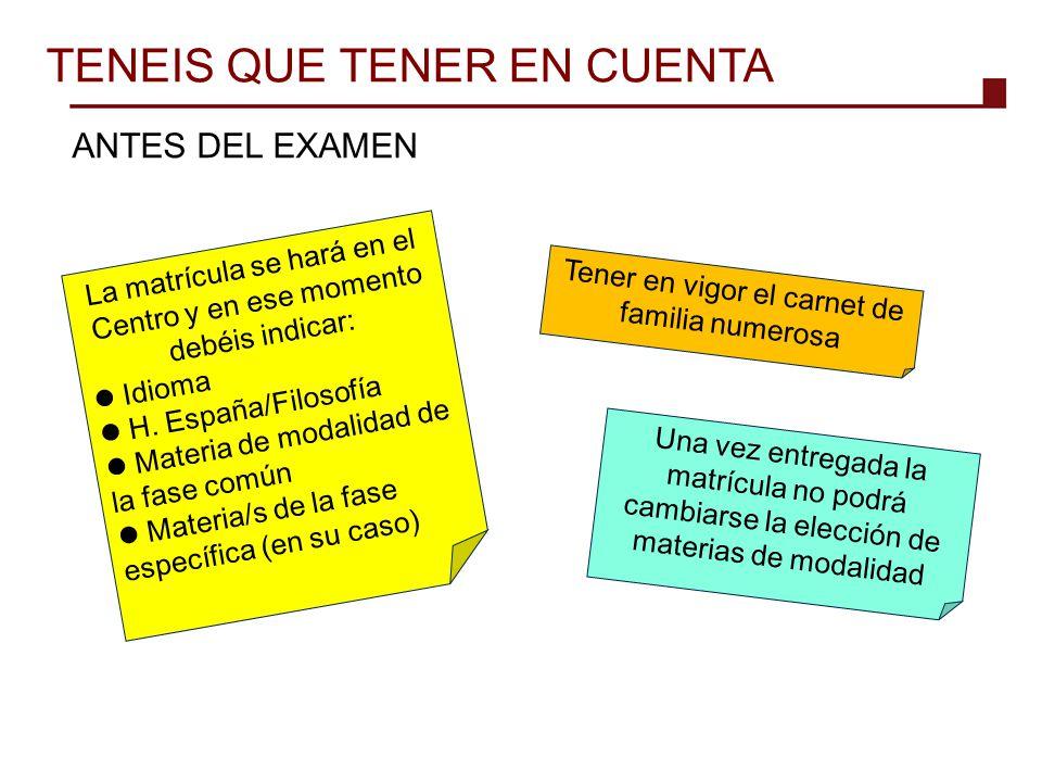 TENEIS QUE TENER EN CUENTA
