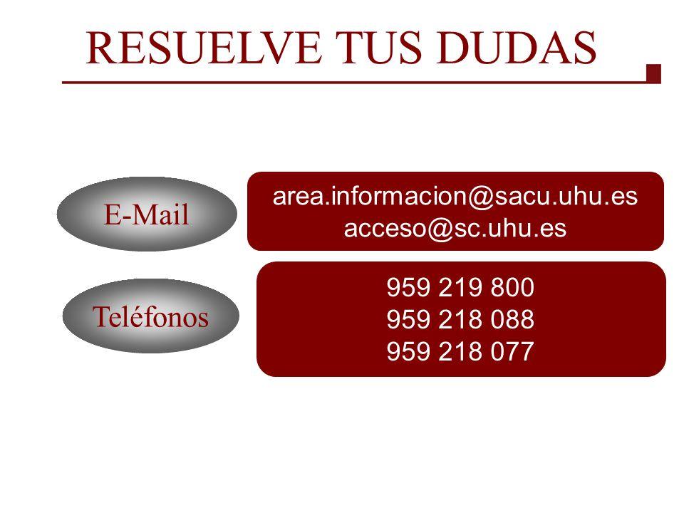 RESUELVE TUS DUDAS E-Mail Teléfonos area.informacion@sacu.uhu.es