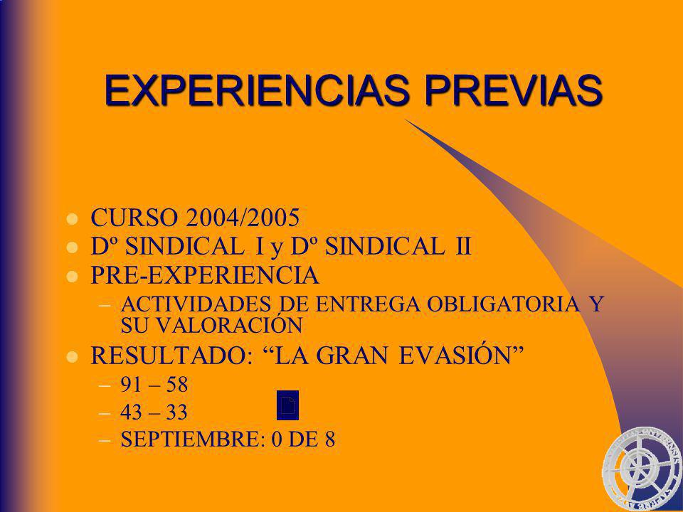 EXPERIENCIAS PREVIAS CURSO 2004/2005 Dº SINDICAL I y Dº SINDICAL II