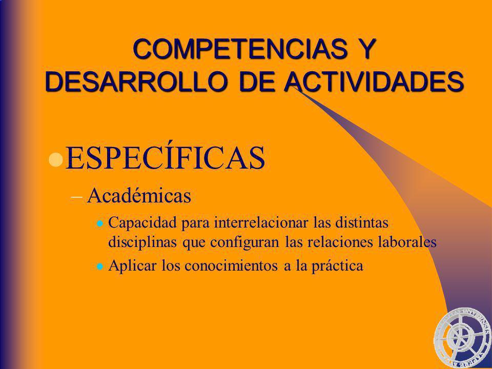 COMPETENCIAS Y DESARROLLO DE ACTIVIDADES
