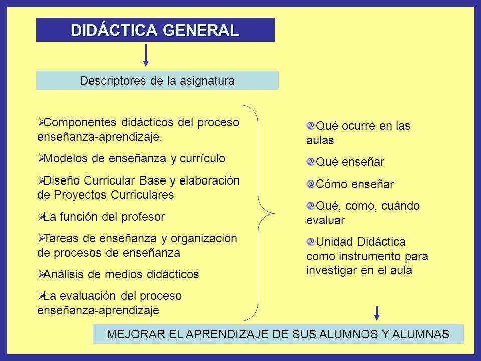 DIDÁCTICA GENERAL Descriptores de la asignatura