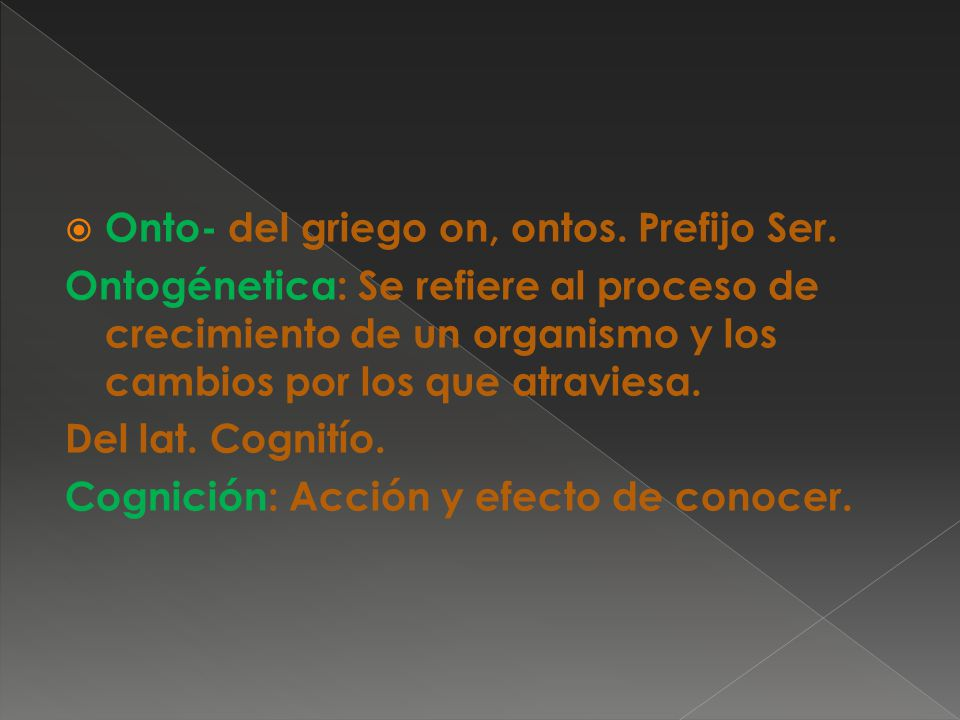 Onto- del griego on, ontos. Prefijo Ser.