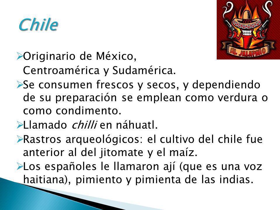 Chile Originario de México, Centroamérica y Sudamérica.