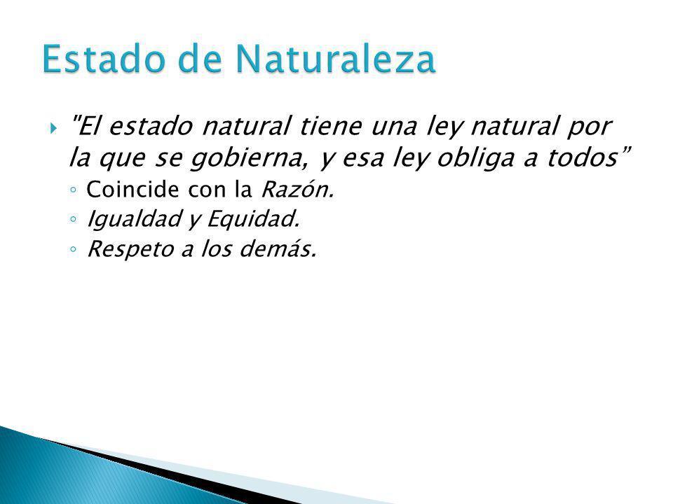 Estado de Naturaleza El estado natural tiene una ley natural por la que se gobierna, y esa ley obliga a todos