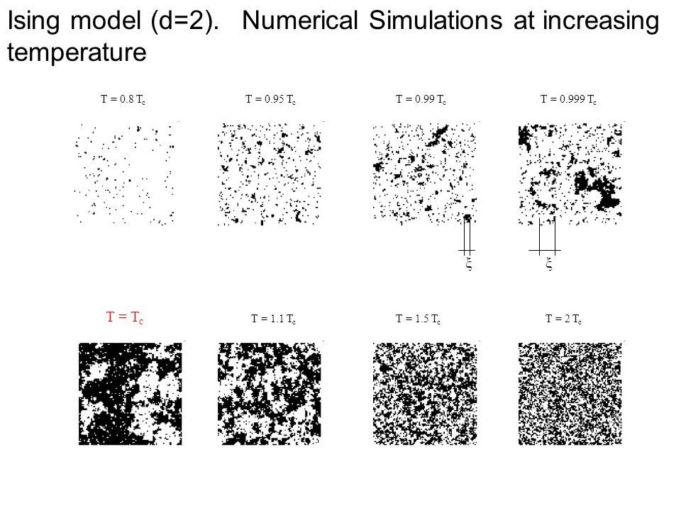Ising model (d=2). Numerical Simulations at increasing temperature