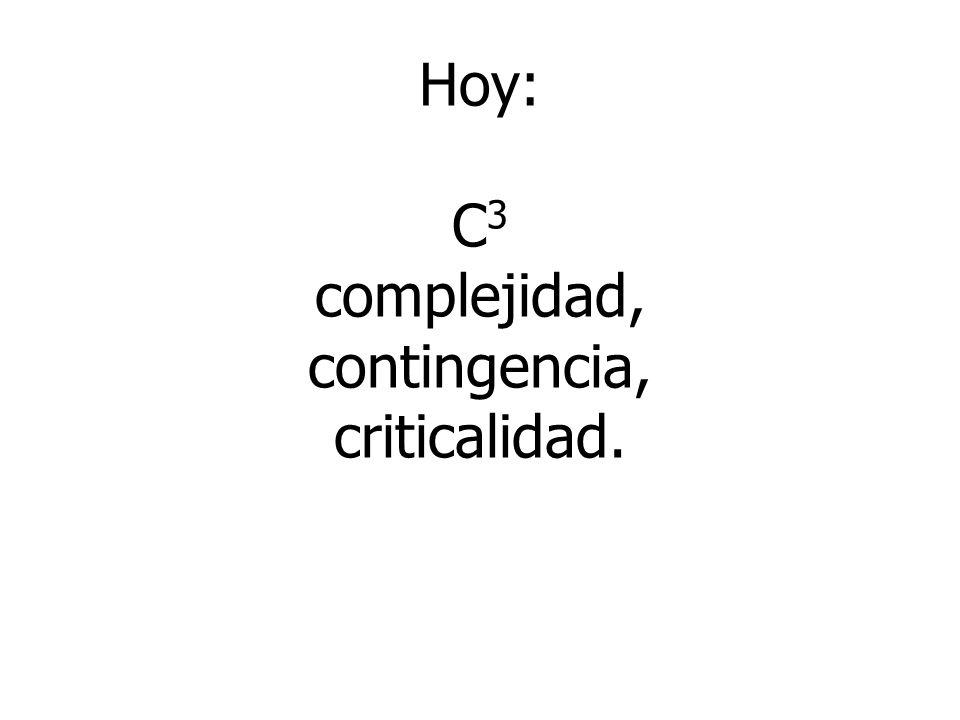 Hoy: C3 complejidad, contingencia, criticalidad.