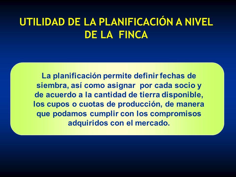 UTILIDAD DE LA PLANIFICACIÓN A NIVEL DE LA FINCA