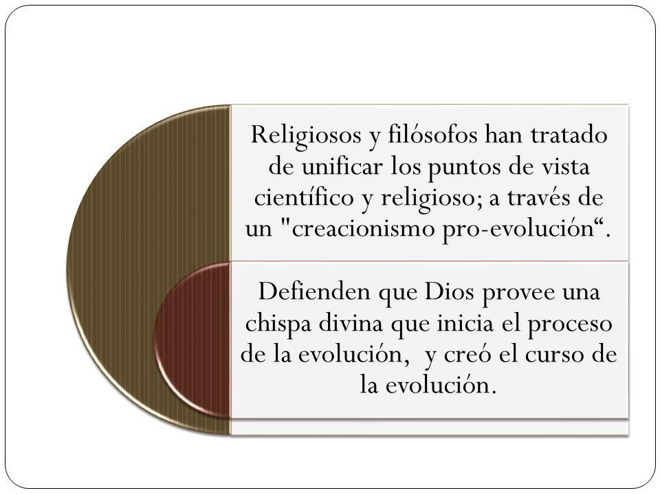 Religiosos y filósofos han tratado de unificar los puntos de vista científico y religioso; a través de un creacionismo pro-evolución .