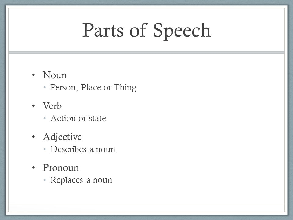 Parts of Speech Noun Verb Adjective Pronoun Person, Place or Thing
