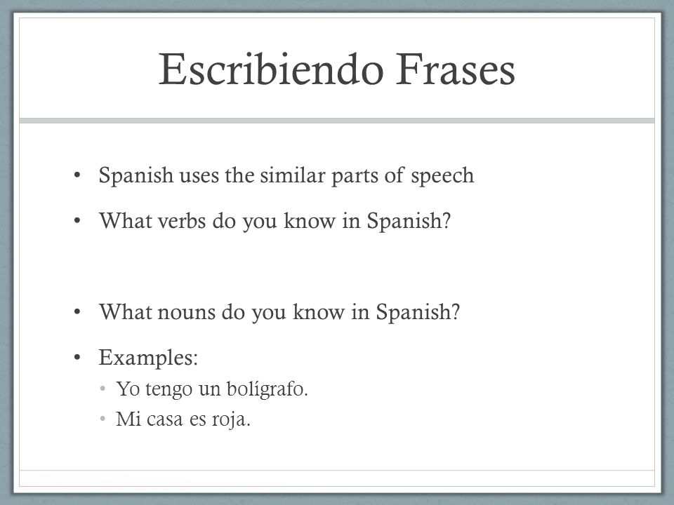 Escribiendo Frases Spanish uses the similar parts of speech