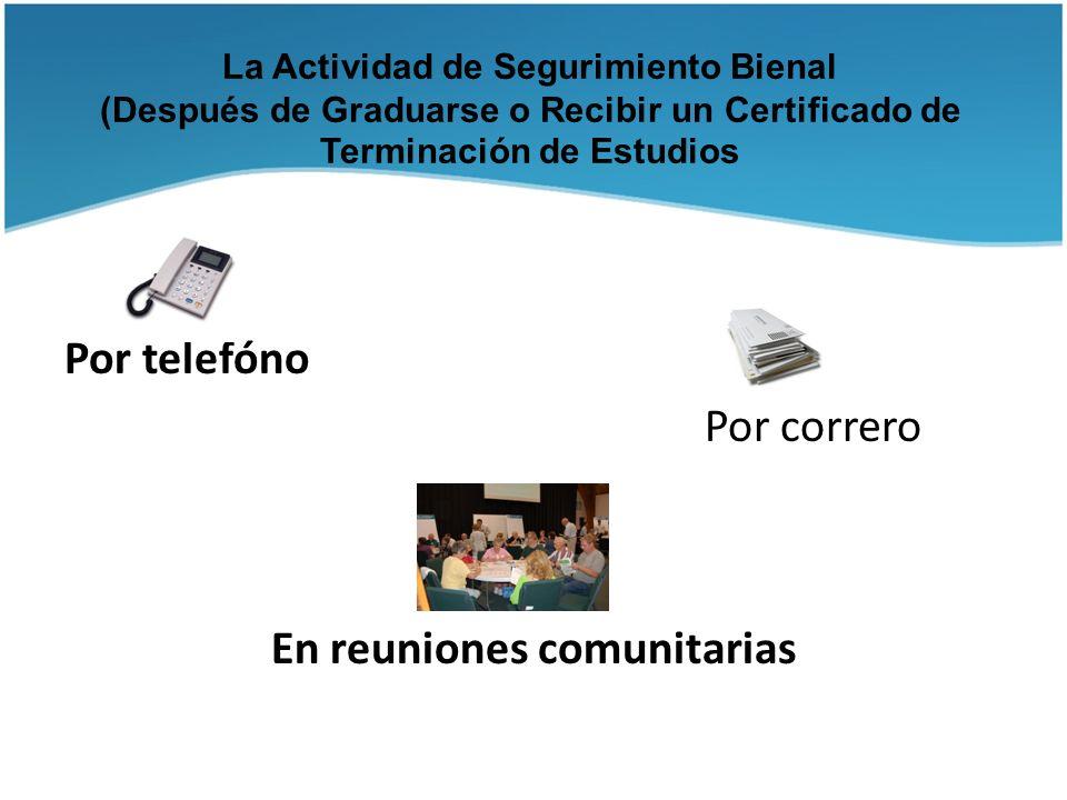 Por telefóno Por correro En reuniones comunitarias
