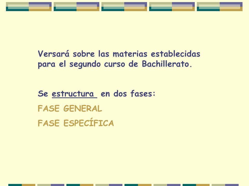 Versará sobre las materias establecidas para el segundo curso de Bachillerato.