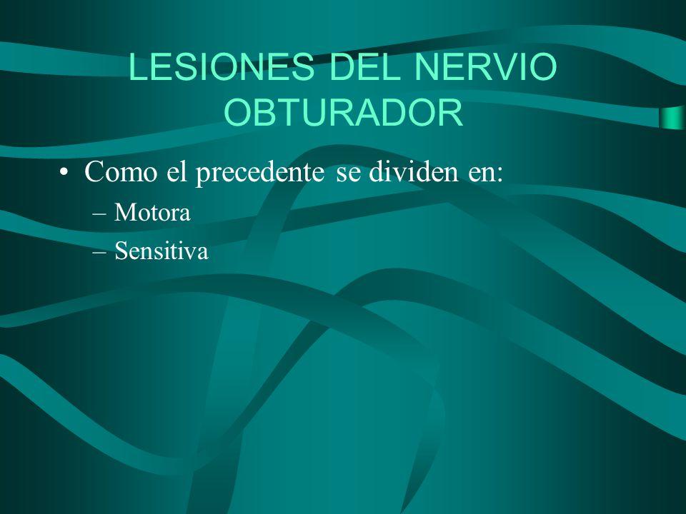 LESIONES DEL NERVIO OBTURADOR