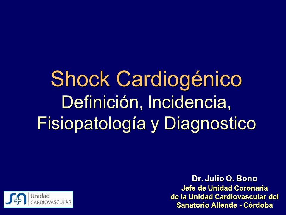 Shock Cardiogénico Definición, Incidencia, Fisiopatología y Diagnostico