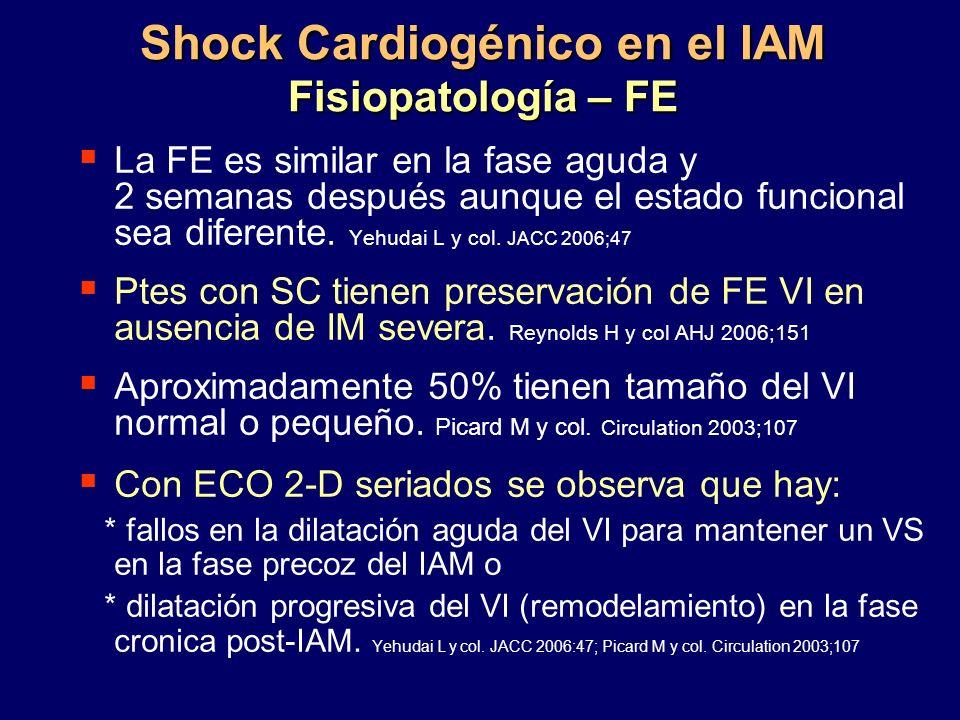 Shock Cardiogénico en el IAM Fisiopatología – FE