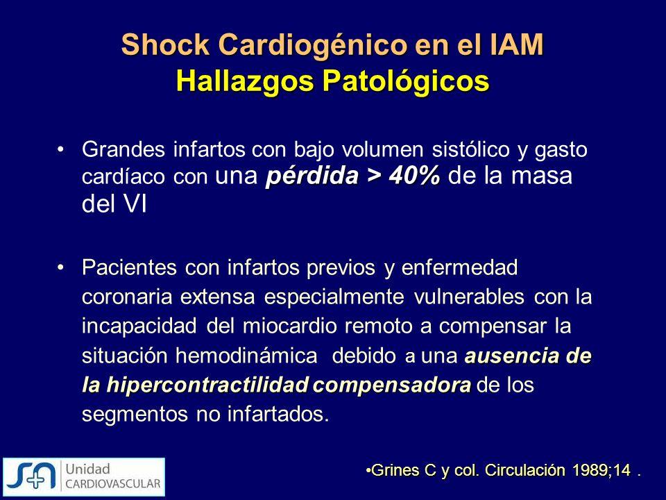 Shock Cardiogénico en el IAM Hallazgos Patológicos
