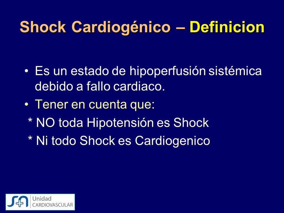 Shock Cardiogénico – Definicion