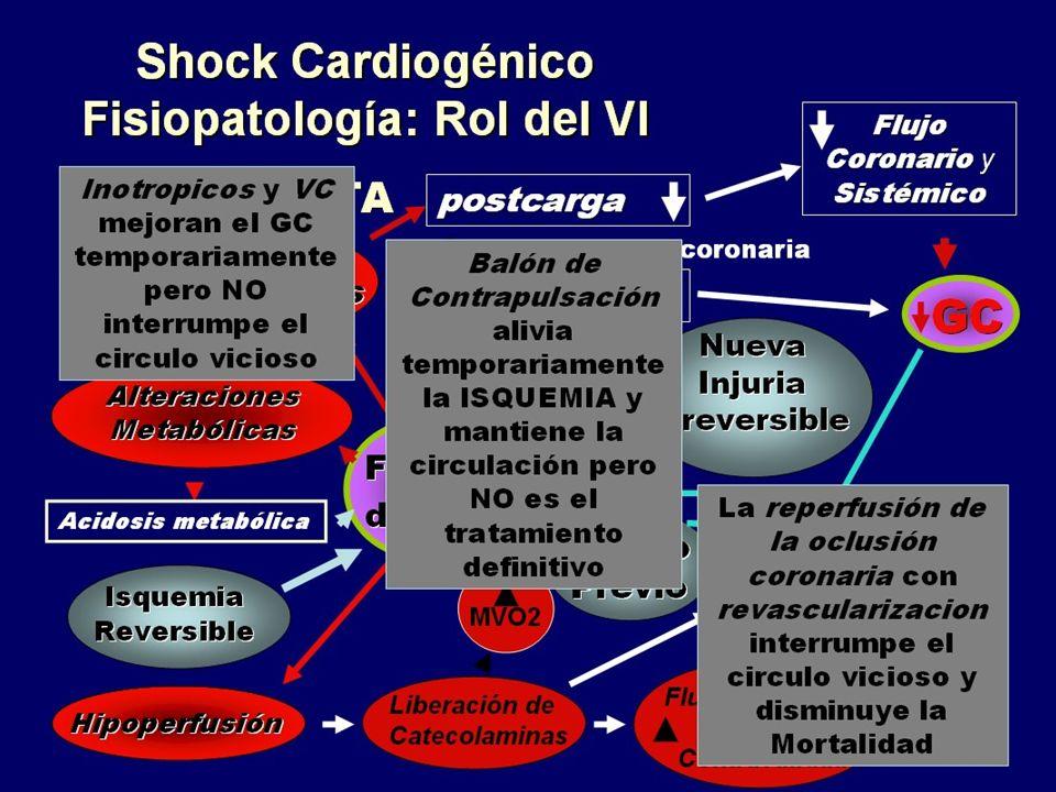 Vemos por un lado que el tratamiento medico farmacologico y el balon de contrapulsacion son de sosten pero no actuan sobre la causa del shock que es el infarto y por lo tanto, para romper este circulo vicioso es util la revascularizacion coronaria.