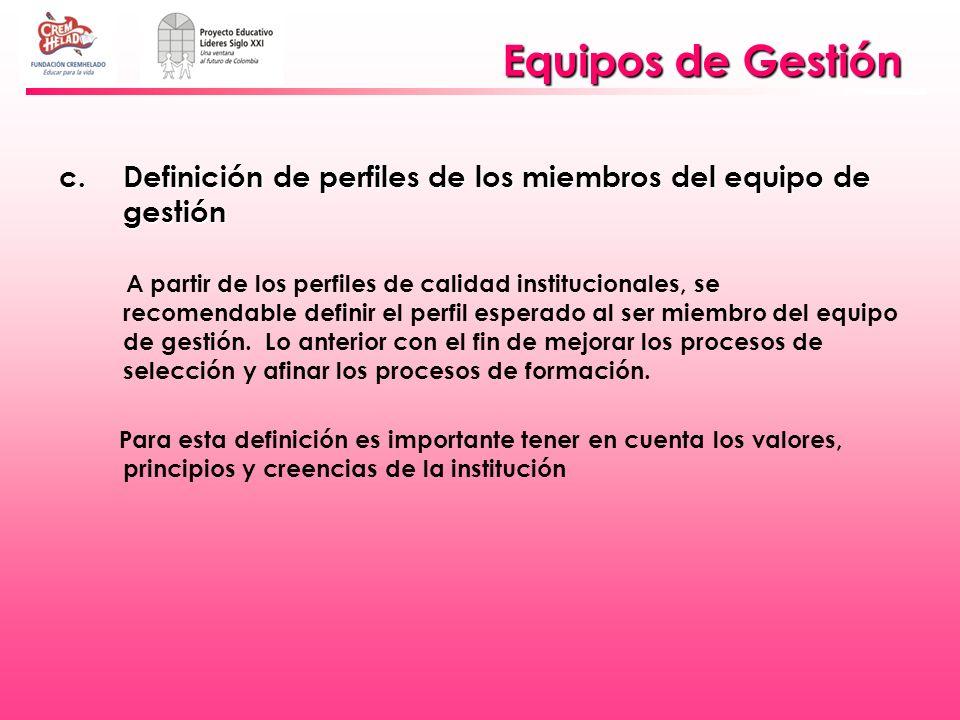 Equipos de Gestión Definición de perfiles de los miembros del equipo de gestión.
