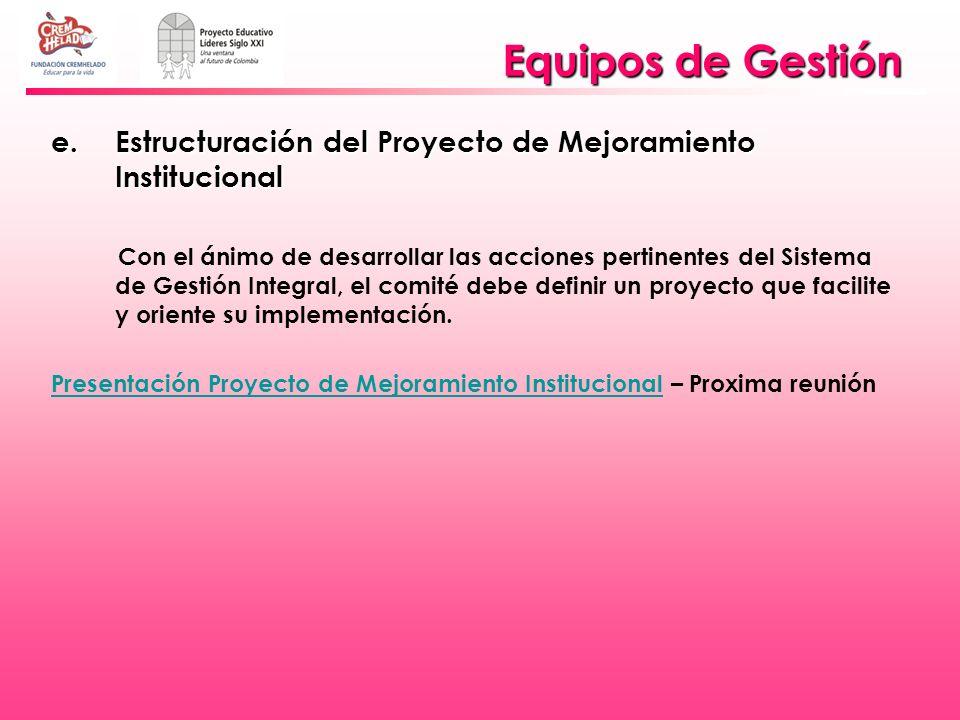 Equipos de Gestión Estructuración del Proyecto de Mejoramiento Institucional.