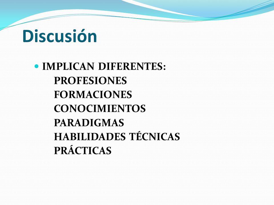 Discusión IMPLICAN DIFERENTES: PROFESIONES FORMACIONES CONOCIMIENTOS