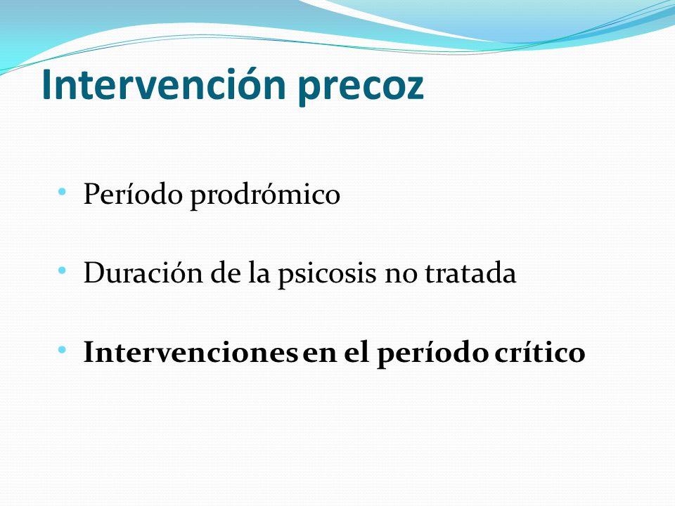 Intervención precoz Período prodrómico