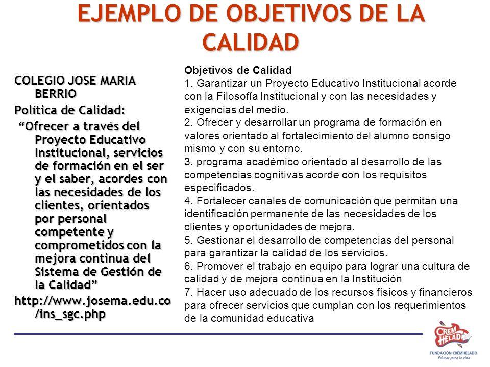 EJEMPLO DE OBJETIVOS DE LA CALIDAD