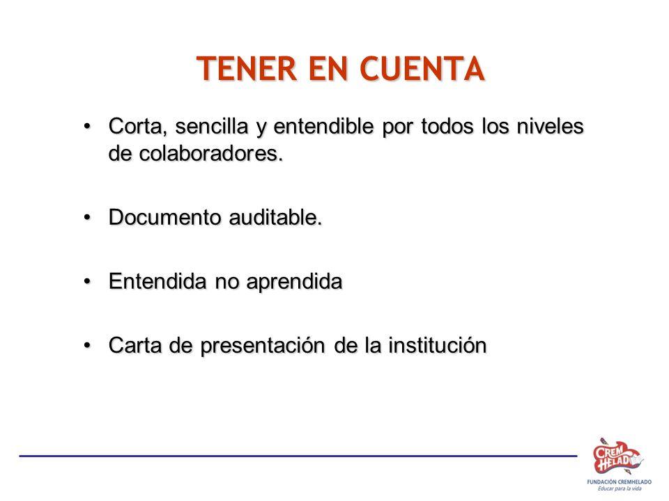 TENER EN CUENTA Corta, sencilla y entendible por todos los niveles de colaboradores. Documento auditable.