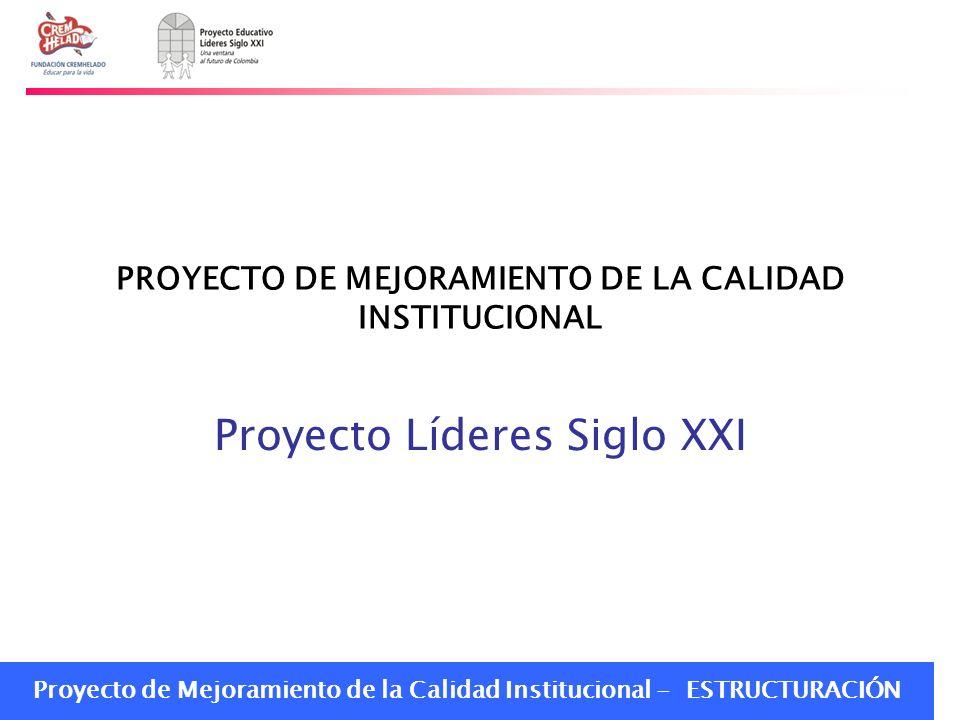 PROYECTO DE MEJORAMIENTO DE LA CALIDAD INSTITUCIONAL