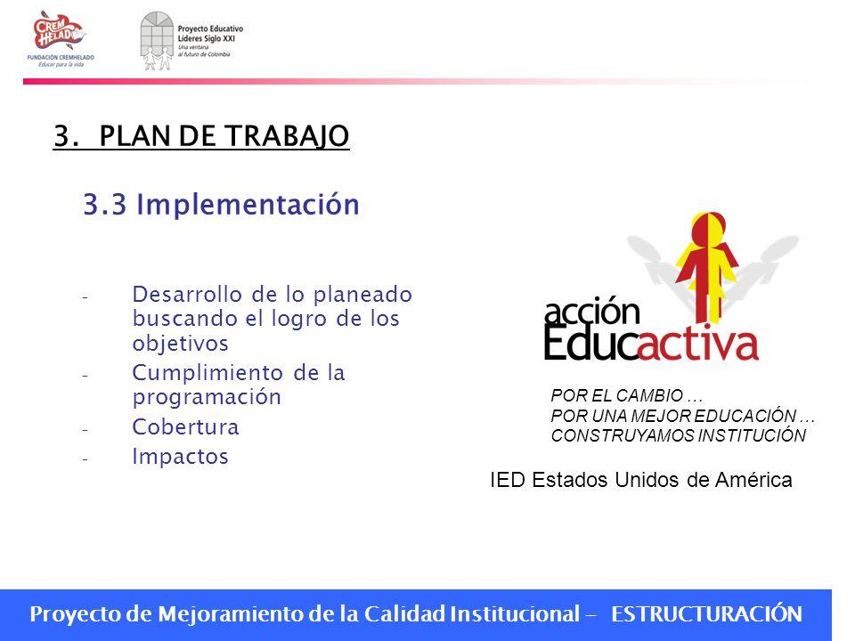 3. PLAN DE TRABAJO 3.3 Implementación
