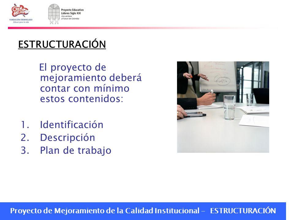 ESTRUCTURACIÓN El proyecto de mejoramiento deberá contar con mínimo estos contenidos: Identificación.