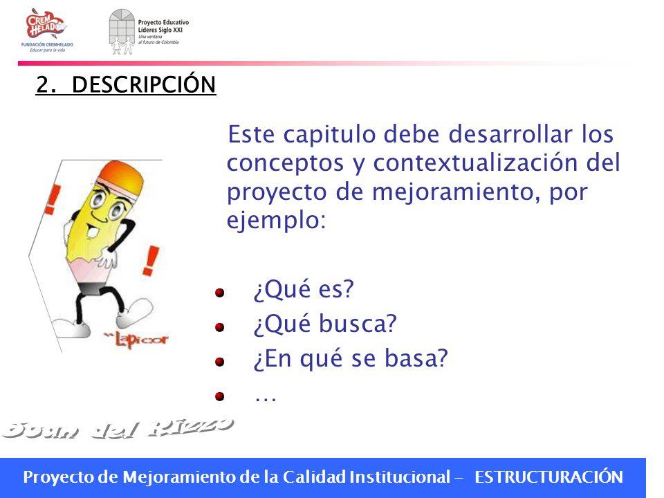 2. DESCRIPCIÓN Este capitulo debe desarrollar los conceptos y contextualización del proyecto de mejoramiento, por ejemplo: