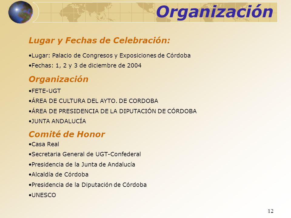 Organización Lugar y Fechas de Celebración: Organización